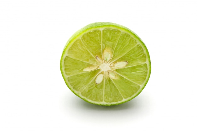 Close up slice of fresh lime isolated