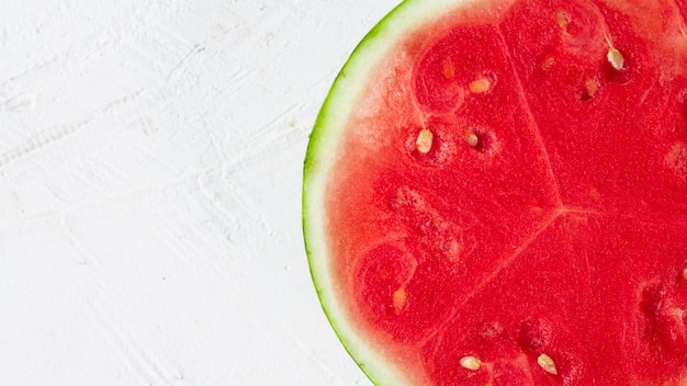 Close-up sliced watermelon with white background