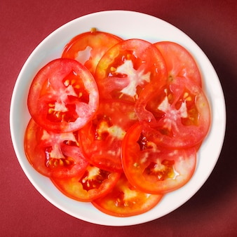 Close up slices of juicy tomato