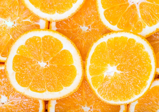 Close-up slices of oranges