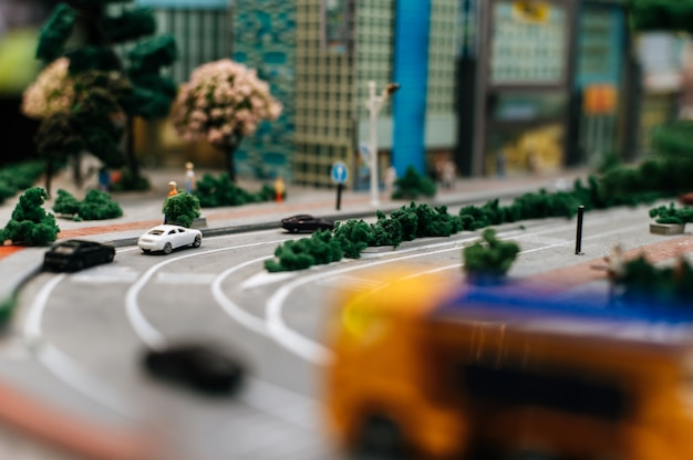 Close up of small cars model on the road, traffic conception.
