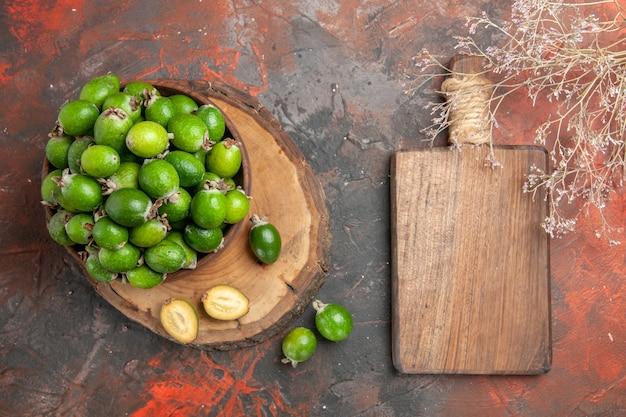 Close up on small vitamin bomb fresh feijoas fruits