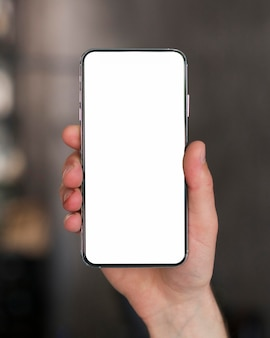Close-up smartphone with copy space