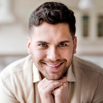 Close-up smiley man posing