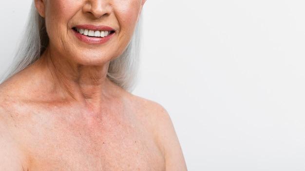 Close-up smiley mature woman