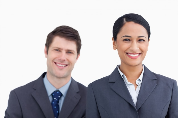 Close up of smiling salesteam
