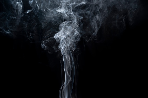 Close-up smoke over black background for overlay designs