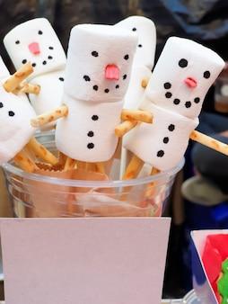 Close up of snowman.