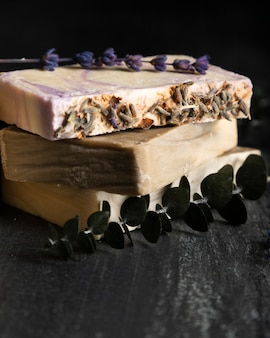 Close-up soap of lavender with lavender beside