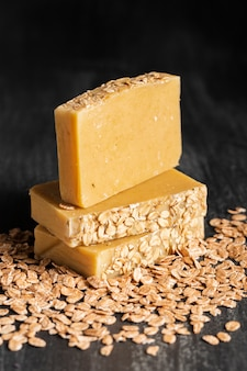 Close-up soap made of oat flakes