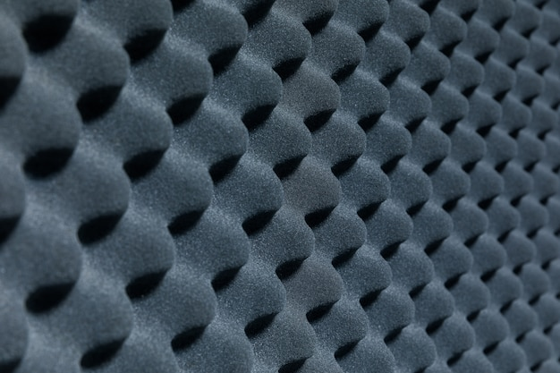 Close up of sound proof coverage in music studio, sound proof coverage in recording studio for background, sound proof  for music recording studio