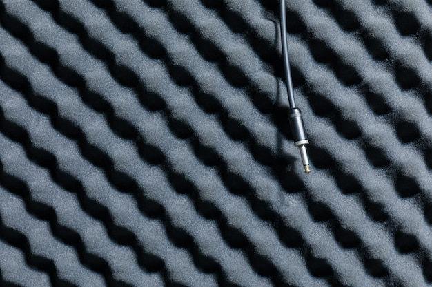 Close up of sound proof coverage in music studio,