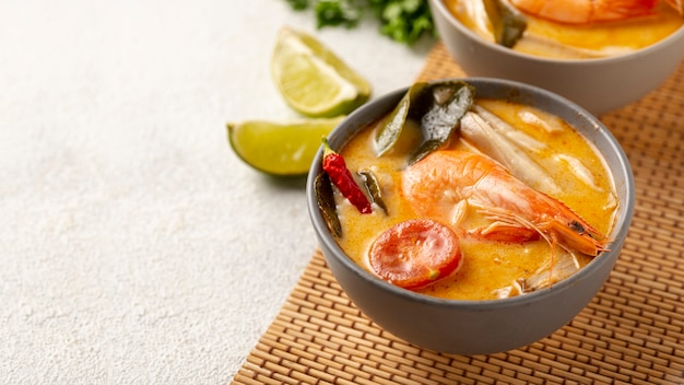 Close-up soup in bowls with shrimp