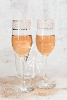 Close-up sparkling champagne glasses