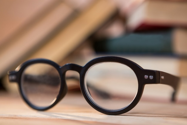 Close-up of spectacles on a table