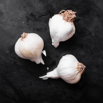 Close-up spicy little garlic cloves