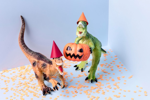 Close-up spooky halloween toys with confetti