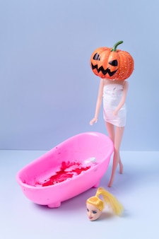 クローズアップの不気味なハロウィーンのおもちゃ
