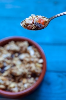 Close up of spoon with muesli