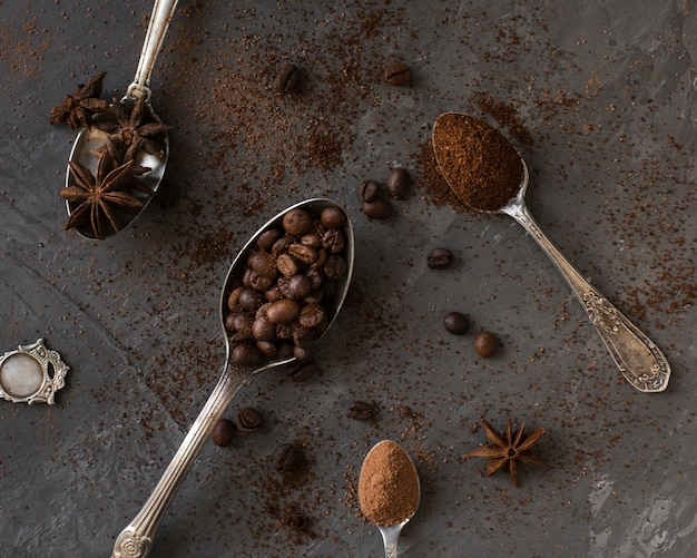 Close-up spoons filled with coffee and spices