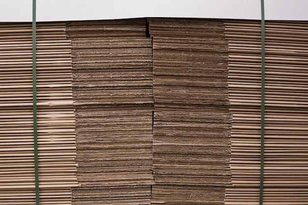 Close up of a stack of cardboard