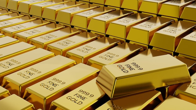 Крупный план стека золотых слитков концепции финансового богатства и резерва. 3d-рендеринг.