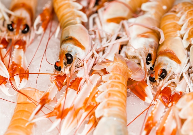Close-up of stack of shrimps at market