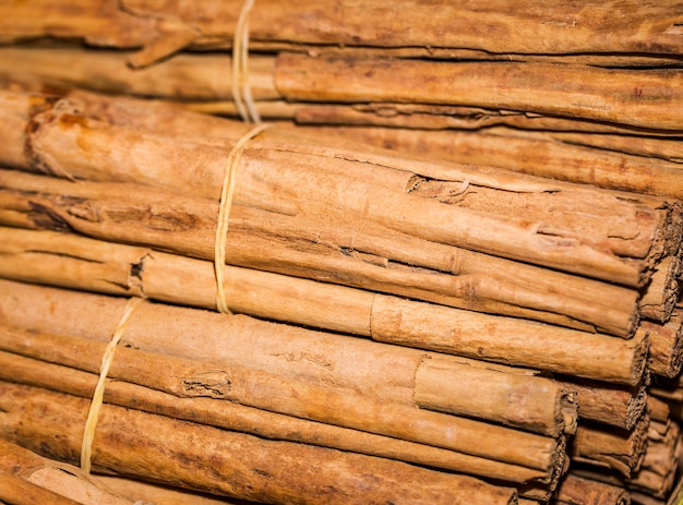 Close-up stacked cinnamon sticks