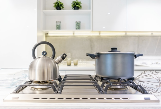 Close-up of stainless steel cooking pot and kettle boiling on gas stove in home kitchen