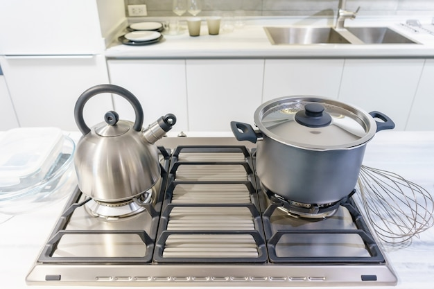 Close-up of stainless steel cooking pot and kettle boiling on gas stove in kitchen