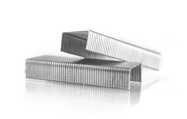Close-up of staples for staples isolated on a white background