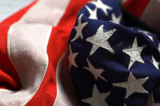Close up star on the american flag freely lying .