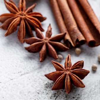 Close-up of star anise and cinnamon sticks