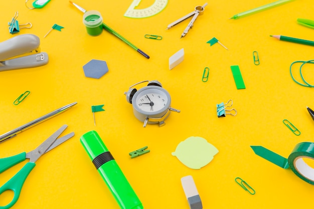 Close-up stationery objects on the table