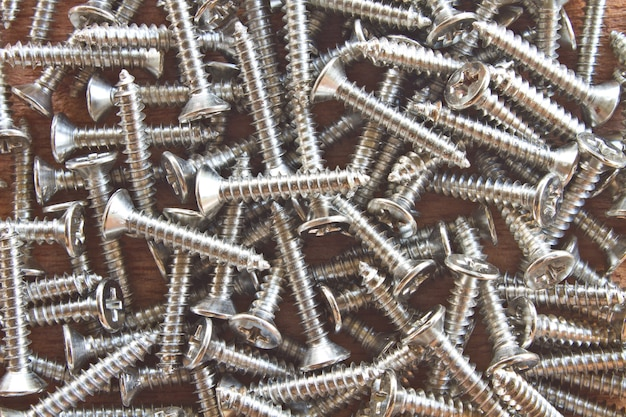 Close up steel screws