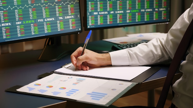 Close up of stock trader taking notes on clipboard. graphs on computer.