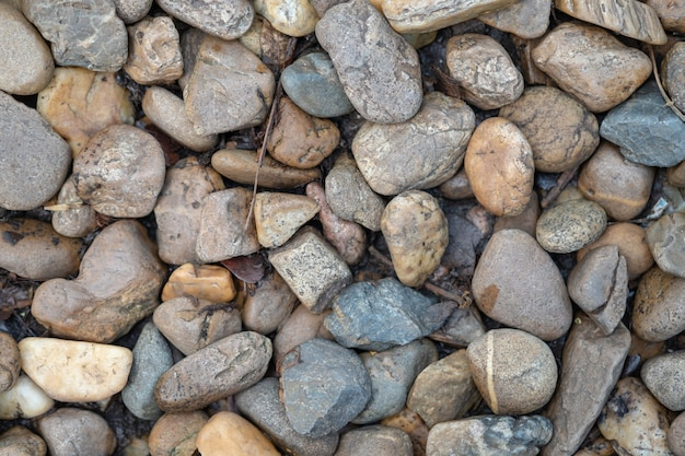Close up of stone and pebble on ground with dry leaf for background
