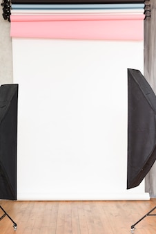 Close-up studio background with lights