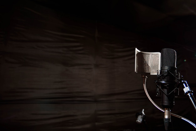 Close up studio condenser microphone with pop filter and anti-vi