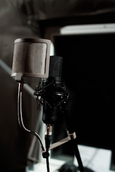 Close up studio condenser microphone with pop filter and anti-vibration mount live recording