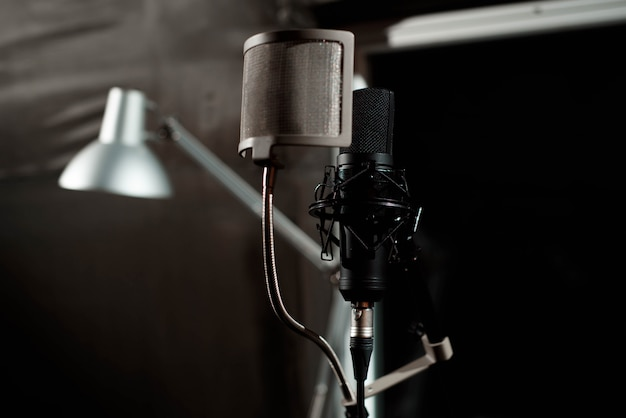 Close up studio condenser microphone with pop filter