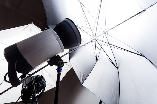 Close-up studio flash in gray in the photo studio.  studio light for photography