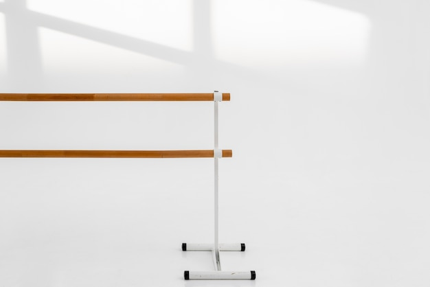 Close-up studio wooden handrail for ballet
