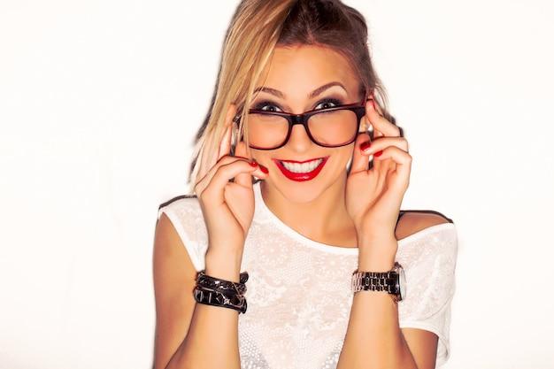 Close-up of stylish girl wearing glasses