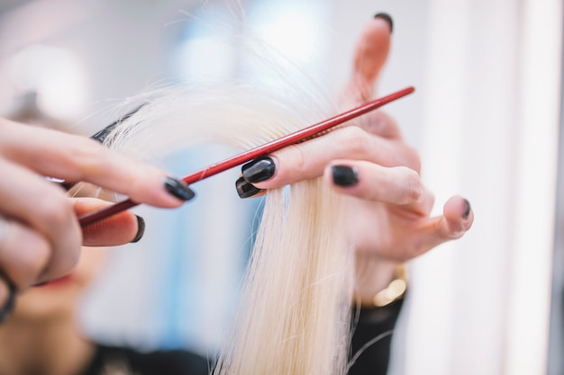 Close-up of stylist cutting fair hair