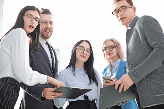 Close up successful business team with business documents