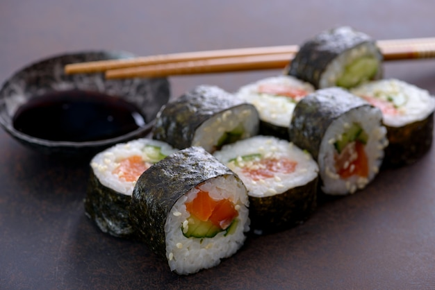 Close-up sushi roll