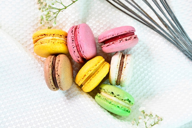 Close up of sweet and colorful french macaroons. colorful macaroons cakes.