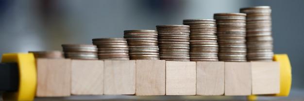 クローズアップテーブルは木製のブロックで成長しているコイン