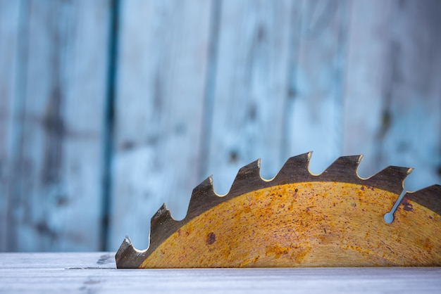 Close up of table circular saw blade